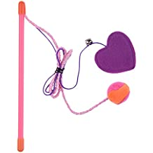 Cat Teaser Toys Heart Catnip Long Strap Indoor Toys with Bell for Cats Kittens