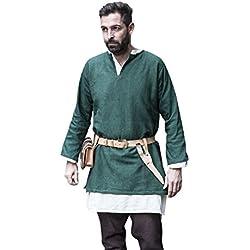 Burgschneider Medieval túnica Corta túnica de Manga Larga de algodón Verde auténtico - XXL