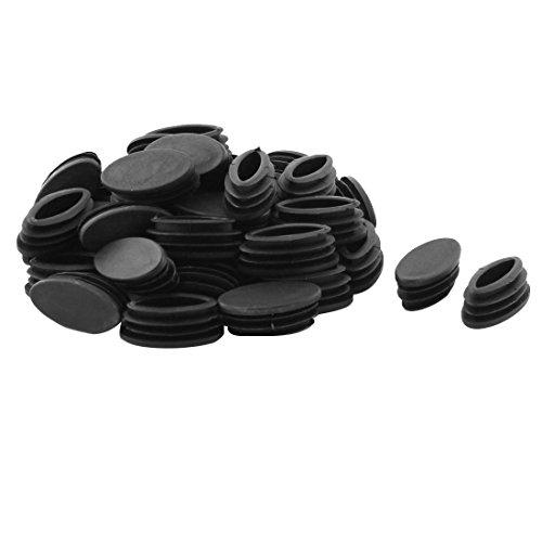 Sourcingmap® Table Chaise Pieds Tube Ovale en Plastique Noir Insert Tuyau 20 x 40mm 40 pcs