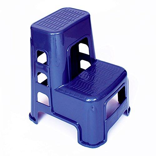 FLYSXP Kunststoff 2 Schritt Hocker Erwachsenen und Kinder Leiter praktische Autowäsche Hocker Haushaltswaren kleine Hocker Schuhbank Faltbarer Tritthocker (Color : Blue)
