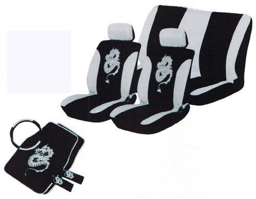 Sitzbezüge-Set mit Drachenmotiv, 13-teilig, Grau