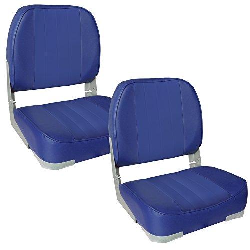 [pro.tec] 2X Bootssitze (blau) im Sparpaket - aus wasserfestem Kunstleder/Steuerstuhl/wasserfest/gepolstert/Kapitänsstuhl/Angelsitz/UV- beständig