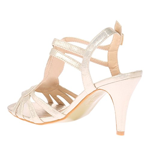 ByPublicDemand May Femme Grande Taille sandales Talons hauts Or