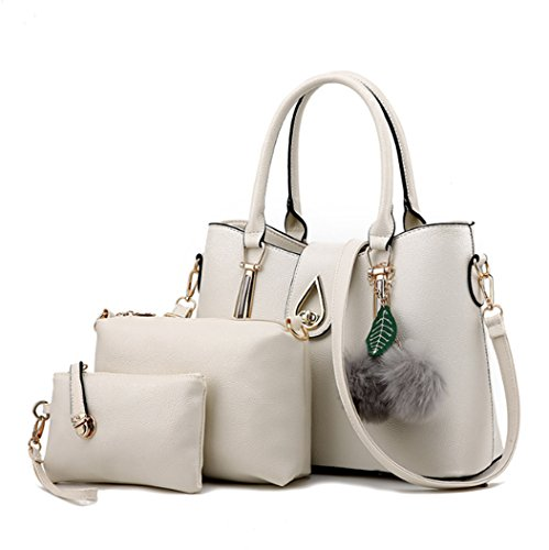 Le signore di modo un insieme tre parti della borsa di cuoio della borsa della borsa della borsa della borsa dell'unità di elaborazione delle donne Beige