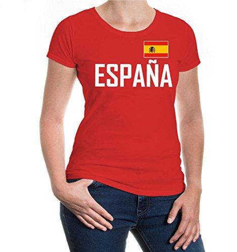 buXsbaum Damen Kurzarm Girlie T-Shirt Bedruckt Spanien   Spain Espana Espagne SPAGNA Europa Ländershirt Fanshirt Flagge Trikot Reise red-