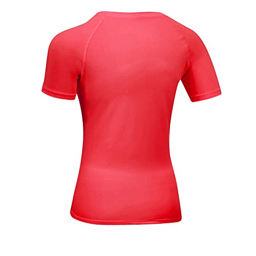 Bmeigo Femme Exercise Manches courtes Compression Base Layer Quick Dry T-Shirt red