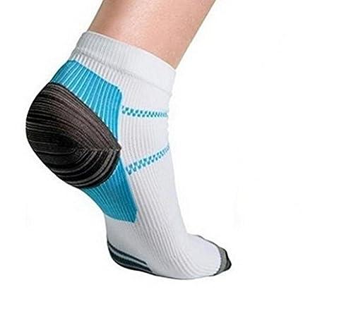 OverDose Adern Socken Kompression Socken mit den Sporen für Plantar Fasciitis Arch Schmerzen (Weiß, 2