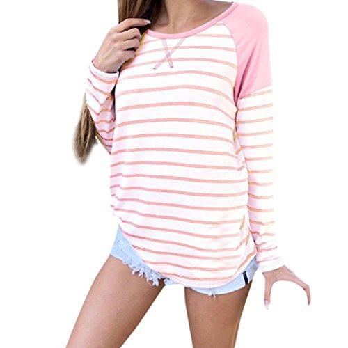 JUTOO Frauen-beiläufige lose Gestreifte Lange Hülsen-Oansatz T-Shirt Oberseiten-Bluse(Weiß,EU:44/CN:2XL)