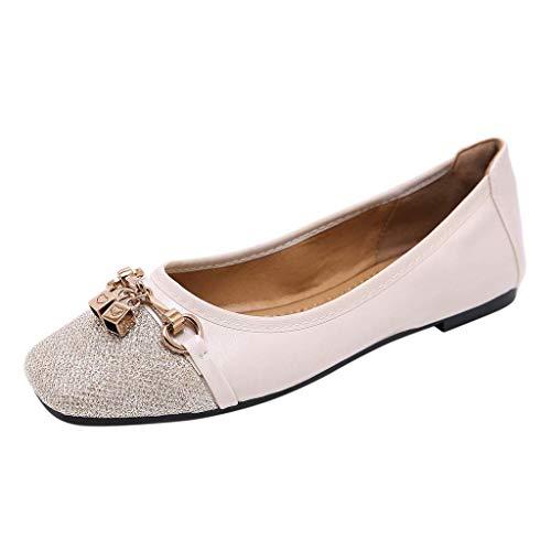 BASACASandalenDamenFrauenMädchenStrandSommerFlachen Mund Einzelne SchuheFrauMetall Bequeme SlipperMode2019 (41 EU, Beige) Bally Loafer