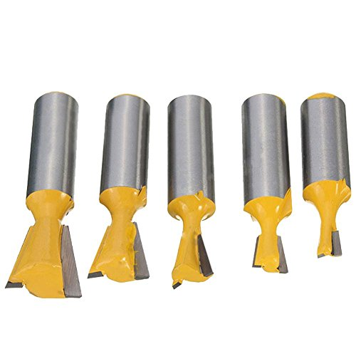 "MIA 5 Stück Fräser Schaft Cutter Router Griff 1/2 \'\' 3/8\"" 1/4\"" 5/8\"" 3/4\"" Gelb Stahl Bit 1/2\"" Schneide Holzbearbeitung für Carpenter"