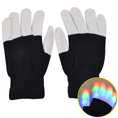 Sasairy Unisex 6 Modus LED Handschuhe blinkende Bunte Finger Gloves Zubehörteil für Halloween Club Weihnachten Geburtstag Geschenk Show Disco Party Karneval