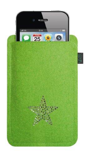 Kringsfashion feltro custodia per iphone 4/s,3, lime, con stella in cristalli swarovski®;