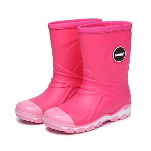 Boys Girls Wellies Rain Boots Kids Warm Lined Light Wellington Boots Unisex Children Winter Non-Slip Waterproof Snow Boots Size