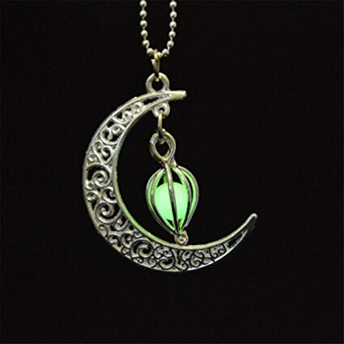 canviuk Charming Luminous Green Moon Night Anhänger Fluoreszenz Glow in the Dark Crescent Halskette (Night Glow Ring)