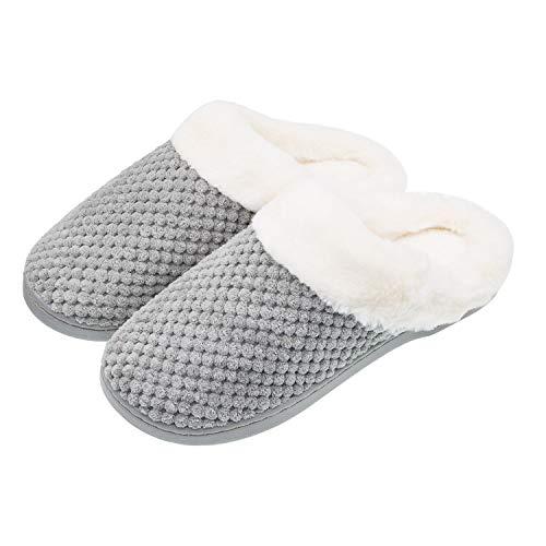 Sporzin Zapatillas de Casa para Mujer Hombre Invierno Cómodas Pelusa Zapatillas Antideslizantes Pantuflas para Interiores y Exteriores