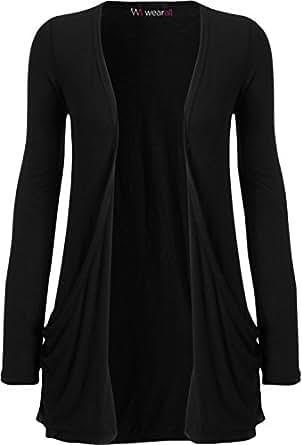 WearAll - Ladies Long Sleeve Pocket Cardigan Womens Top - Black - 8 / 10