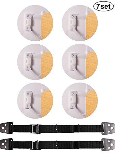 7 Set Anti Kipp Möbel Anker Kit Möbel Anker Kinder Sicherung mit TV Gurten Sicherheit für Flache Bildschirme Erdbeben Sicherung für Baby Kinder Sicherheit -