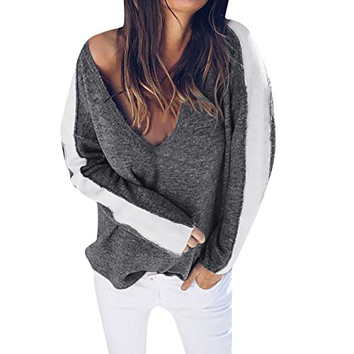 TianWlio Langarm Bluse Damen Frauen Mode Lässige Mode Langarm V-Ausschnitt Gestreiften Pullover Tops Bluse Shirt