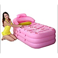 CLG-FLY Aufblasbare Badewanne verdickte bei erwachsenen Kinder klappbarer Wanne aus durchsichtigem Kunststoff Whirlpool, Rosa Trompete + Fußpumpe