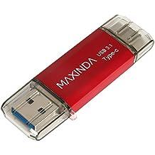 MAXINDA 16GB/32GB/64GB Pendrive / Memoria USB 3.1 OTG Type C (Tipo C) con Carcasa Aluminio y Elegante para Android Smartphone con la Interfaz Type-C y Computadoras (16G, Rojo)