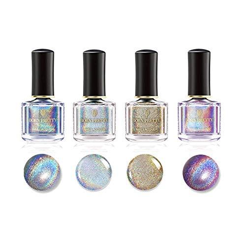 Born Pretty 6ml Holographic Nagellack Holo Glitter Superglanz Nagelkunst (Heiße Farbe eingestellt) -