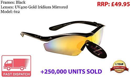 Rayzor professionali leggeri UV400 Nero Sport Wrap ciclismo da sole, con un obiettivo rispecchiato oro Iridium.