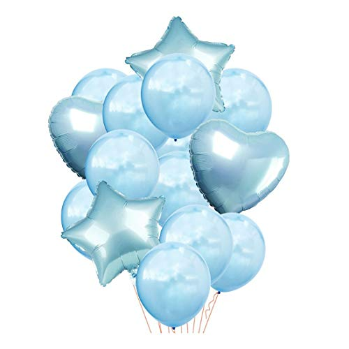 ZSQQSCL Festliche Dekorative Luftballons 12-Zoll Gemischte Farbe Runde Stern Herz Latex Ballon Set Für Familie Party Dekoration, D