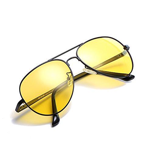 Myiaur HD Gelbe Nachtsichtbrille Autofahren Polarisiert für Damen Herren Pilotenbrille with 100{3bb879547ec1bd5b61035e3eab474fc4093cfb8af42c9fb6ccc96f79ef0bcab6} UVA UVB Schutz Entspiegelten (nv0623blackyellow)