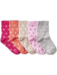 WELLYOU calcetines para niños y bebés, medias para niñas, calcetines para niñas, con estrellas. Set de 5 pares