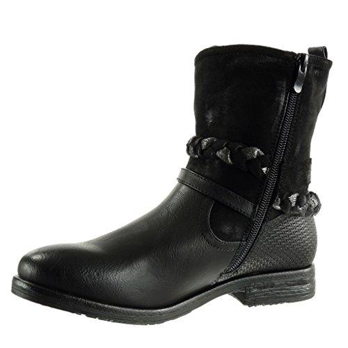 Angkorly - Chaussures Mode Bottines - Bottes Style Cavalier Style Cavalier Tressé Style Femme Nœud Lanière 3 Cm - Fourrure Doublée Noir