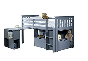 Happy Beds Milo Wooden Mid Sleeper Kids Bed Bedroom Furniture