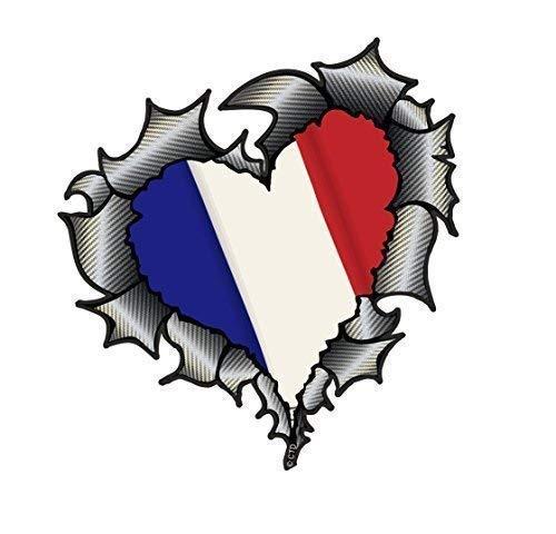 Herzförmiges Kohlefaser Effekt Zerrissenes Metall Schnittwunde Design & Frankreich Französisch Flagge Vinyl Autoaufkleber 105x100mm -