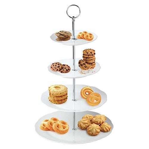 Runde Etagere Rack (Keramik weiß runde Blume Servieren Display Kuchen Platte Lebensmittel Rack (4Etagen))