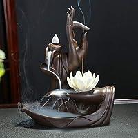 Zen Lotus - Quemador de incienso con 10 conos de incienso de reflujo de reflujo de cerámica, quemador de cono de incienso Style 1
