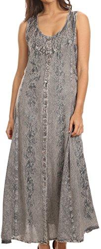 Sakkas 15221 - Maya Floral Embroidegrey Ärmelloser Button Up Rayon Kleid - Grau - L/XL