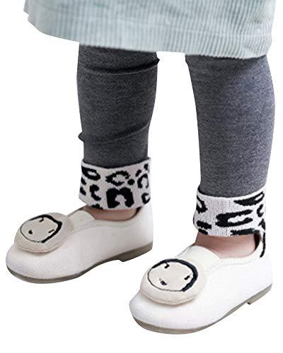PengGengA Baby Mädchen Basic Leggings Stretch Schlank Leopard Gedruckt Kinder Hose Für 0-4 Jahre Grau S - Schlank Stretch Leggings