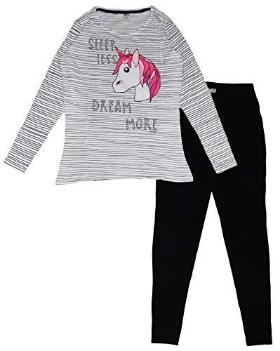 Emoji Damen Pyjama-Set Einhorn, lang, Baumwolle Gr. Medium, weiß/schwarz