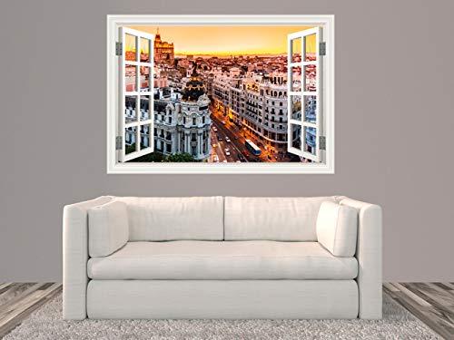 Oedim Vinilo Ventana Madrid Puesta de Sol | 100x70cm | Adhesivo Incluido | Decoracion Habitación | Pegatina Adhesiva Diseño Profesional