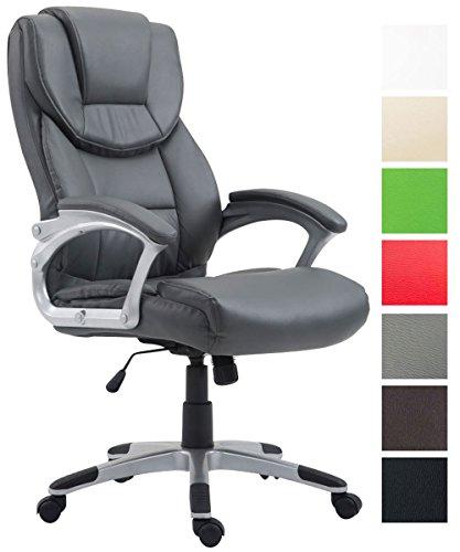 CLP Bürostuhl XL Texas V2 mit Kunstlederbezug l Drehstuhl mit Armlehnen l Chefsessel mit Wippmechanismus l Max. belastbar bis 180 kg l Grau
