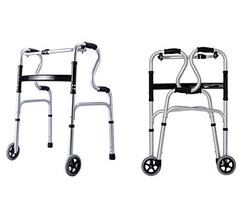 YXMxxm Kompakter Faltbarer Walker mit Komfortgriffen und -rädern Leichtgewichtler, unterstützt bis zu 180 kg, höhenverstellbar und abnehmbare Beine