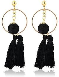 Crunchy Fashion Jewellery Gold Plated Stylish Thread Tassel Earrings For Girls Fancy Party Wear Earrings For Women