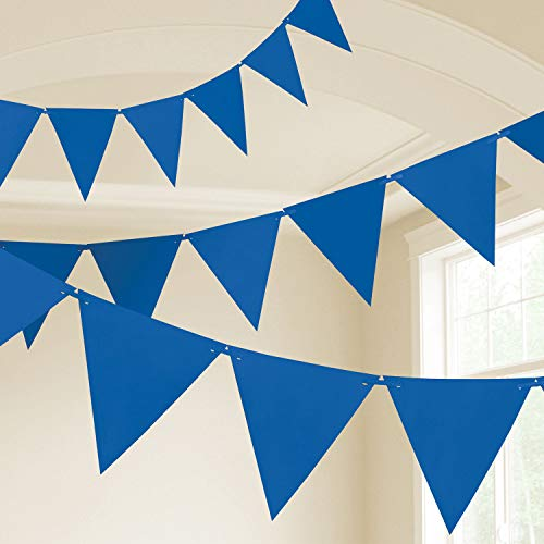Amscan International- Cinta decorativa, Color 10m plastic pennant banner - bri r blue (9903787)