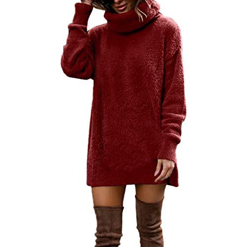 iHENGH Neujahrs Karnevalsaktion Damen Herbst Winter Bequem Lässig Mode Frauenmode Langarm Volltonfarbe Pullover und Strickpullover
