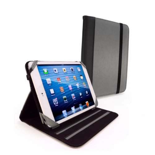 Tuff-Luv Slim-Stand Leather Case Cover (with Sleep Function) for the Apple  iPad Mini - 'Graphite' Grey