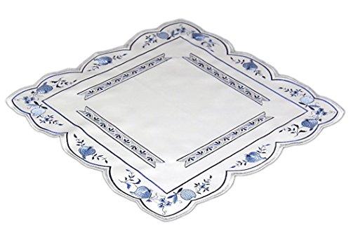 Küchentextilien klassisch Tischdecke Plauener Spitze 40x40 cm eckig Weiß ZWIEBELMUSTER blau KÜCHE Esszimmer Eleganz MADE IN GERMANY (Mitteldecke 40x40 cm)