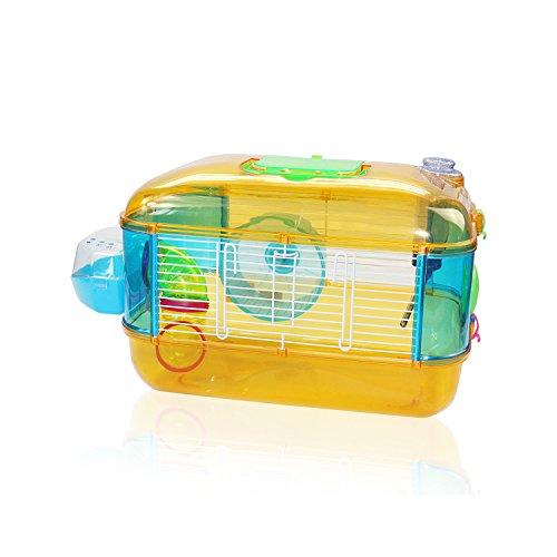 DI ZE LIN PET HOME S.L DZL® Jaula para hamster de plástico duro, caseta bebedero comedero rueda todo incluido (40*26*26 1 piso, amarillo)