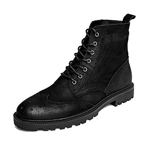 c8057f1f70 Yra Botines para Hombres Brogues Zapatos Chukka con Cordones De Cuero  Genuino Punta Redonda Botas Martin Botas Altas Zapatos,Bla