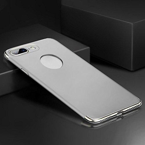 Iphone 8 Plus Coque ,Slim Coque PC Rigide Etui Protection Hard Back Case Bumper (Rose or) Argente