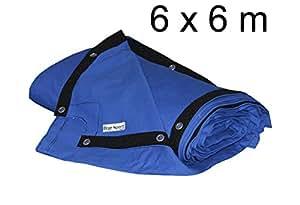 bâche de ring de boxe 6 x 6 m - coton résistant, bleu clair