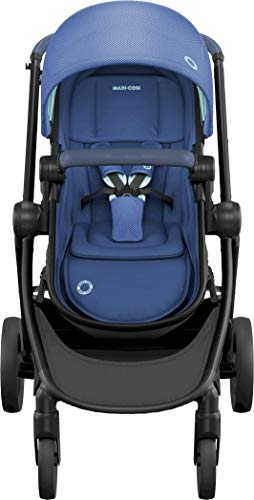 Maxi-Cosi Zelia Baby Pushchair, Lightweight Urban Stroller from Birth, Travel System with Bassinet, 15 kg, Essential Blue Maxi-Cosi Flexible stroller from birth to 3.5 years 2-in-1 seat unit: zelia's seat transforms into a pram bassinet for use from 0 - 12 m in a single movement This city stroller is easy to carry thanks to its lightweight 4